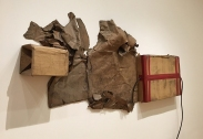 This is untitled. Is it any wonder? It's cardboard with tape and a rubber hose from 1972