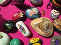 Liz Gibson's painted rocks.