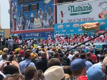 Last year at the Nathan's Hot Dog eating contest at Coney Island.